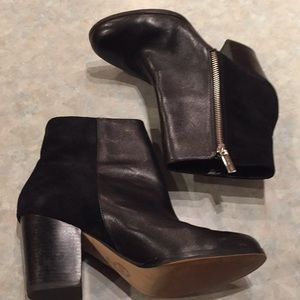 Michael Kors black leather and suede ankle boots